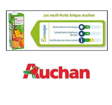 Auchan teste l'affichage environnemental sur son jus de fruit.