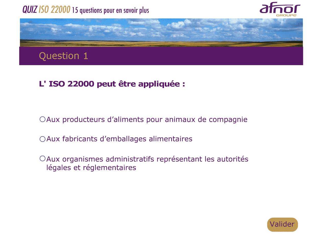 AFNOR, un quizz spécial été sur l'ISO 22 000 !