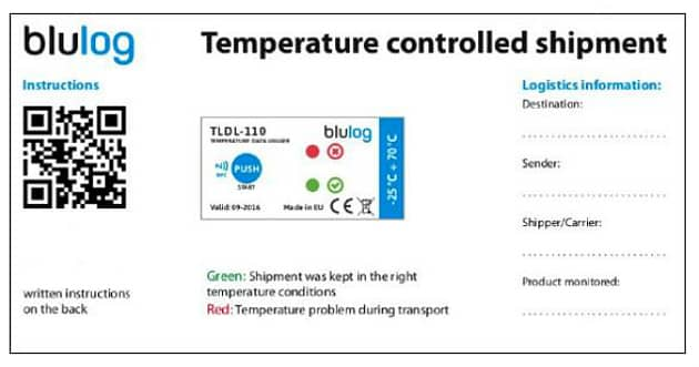 Blulog lance la nouvelle version de son enregistreur NFC pour la température durant le transport