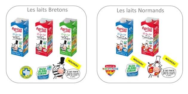 Agrilait lance sa gamme complète de lait UHT sans OGM et Bleu Blanc Coeur