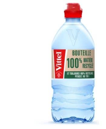 Emballage : Vittel lance la première bouteille d'eau 75cl fabriquée avec 100% de plastique recyclé