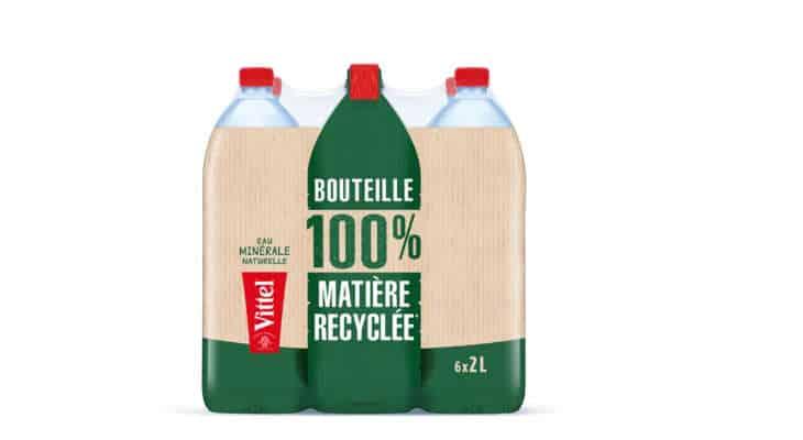 Vittel lance la première bouteille 2 litres 100% en plastique recyclé et 100% recyclable