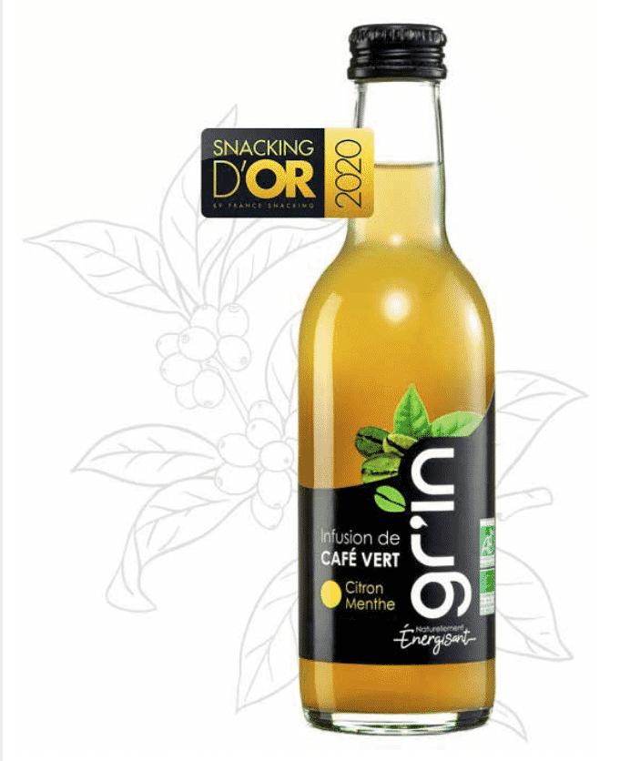 Gr'In, la 1ère boisson bio au café vert, lauréate du Grand Prix Food & Beverages des Snackings d'Or 2020