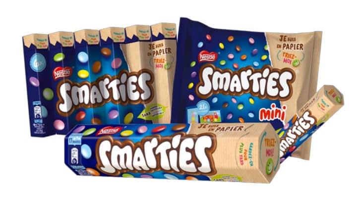 Nestlé annonce la refonte du packaging Smarties et l'habille d'emballages en papier recyclable